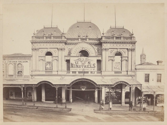 View of the Eastern Arcade, Bourke Street, Melbourne, NJ Caire, 1877. State Library of Victoria